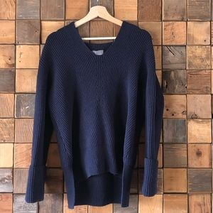 Anthropologie Stitched Sweater Hoodie Navy